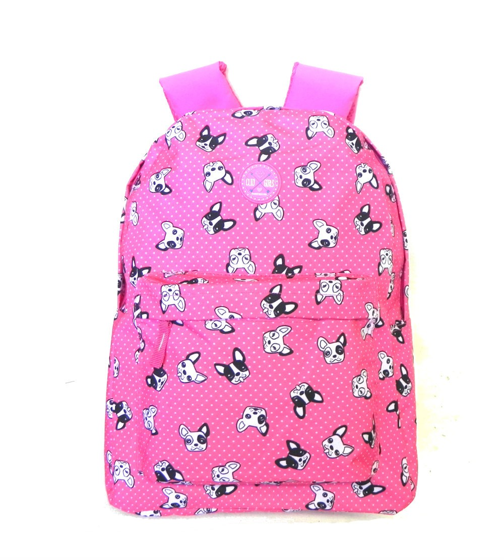 Mochila Rosa Estampa Dog