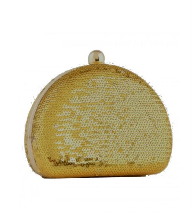 Clutch na Cor Dourada com paetês