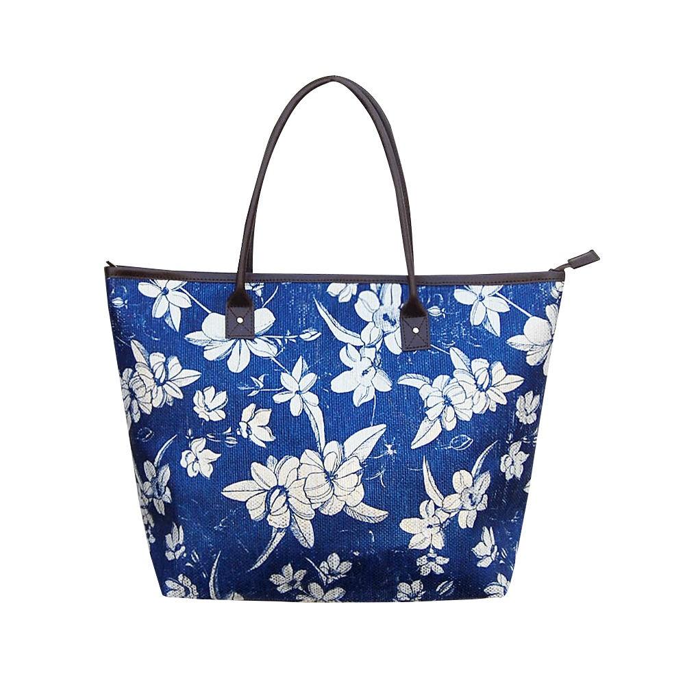 Bolsa de Ombro de Palha Floral Azul