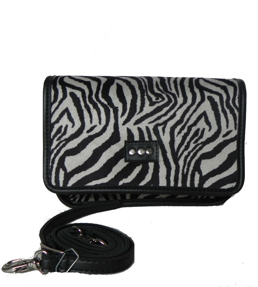 Bolsa transversal estampa animal zebra