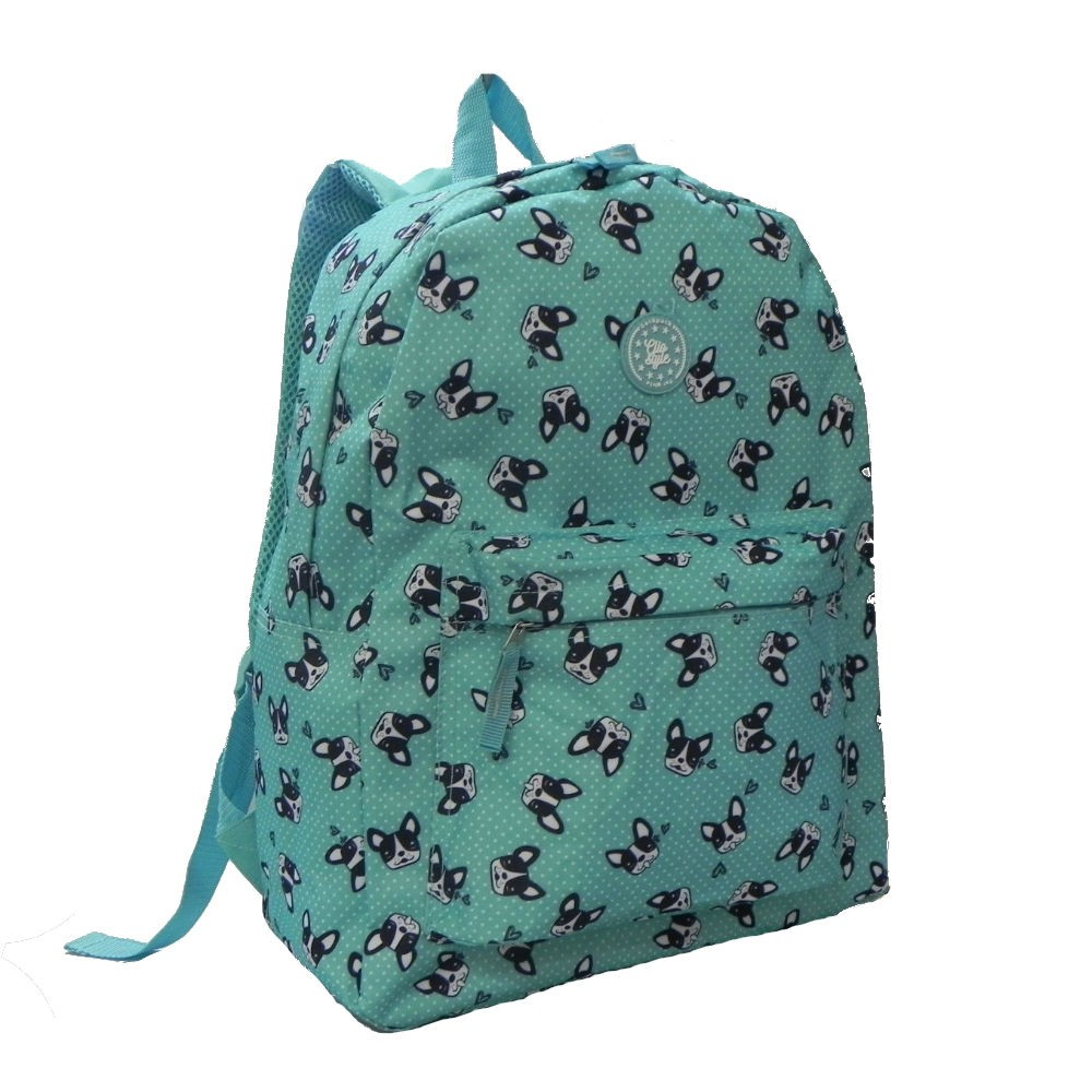 Mochila Verde Estampa Dog