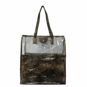 Bolsa em Cristal PVC com Estampa Leopardo
