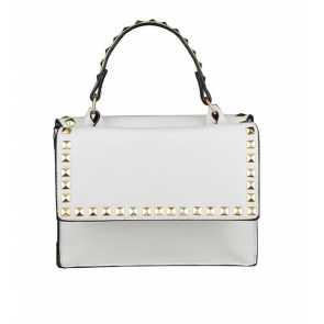 Bolsa transversal com lindo design de tachinhas na cor branca