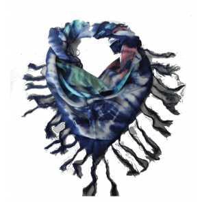 Echarpe Estampada Azul com Franja